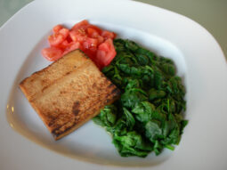 Seared Tofu, Spinach and Tomatoes