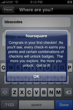 First Foursquare Checkin