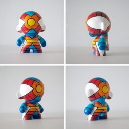 "finished x superhero 7"" custom now on view and up for voting @kidrobotsf @artcodes @kidrobot"