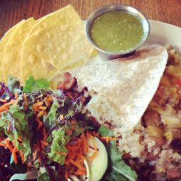 post-surf soy chicken burrito and salsa verde and salad