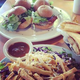 veggie chicken sliders, santa fe salad and fries mmm
