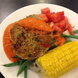 vegetable fritter, red pepper sauce, watermelon and jicama salad, green beans and corn