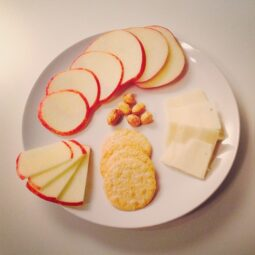 apple, toma, nut plate