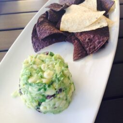 white corn, avocado, black bean and red pepper dip and chips