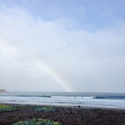 morning rainbow and offshore