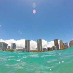 looking back at waikiki from the water
