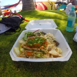 post-surf tofu rice plate on the beach