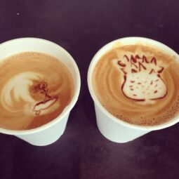our local coffee shop baristas (two  women from Hawaii) made us welcome back from Hawaii cappucinos