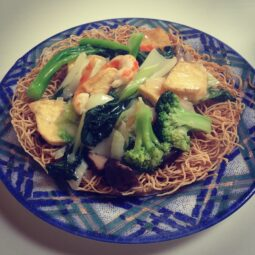 vegan crispy noodles. that's fake shrimp made out of yam flour crescents
