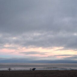 first light. surfers running to the ocean