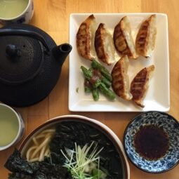 vegan gyoza and udon with sea vegetables