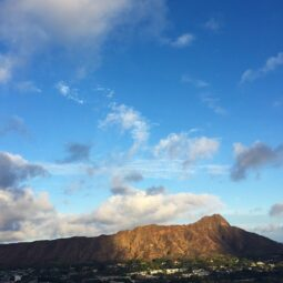 majestic diamond head in sunset light