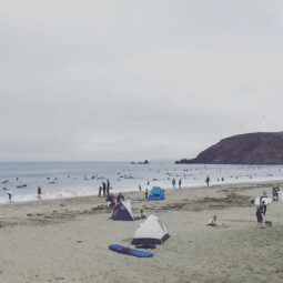 paddled out with two hundred new friends to catch waves and it was awesome
