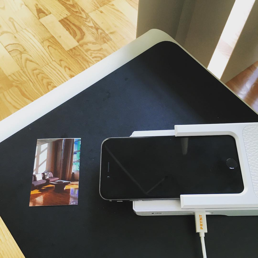 first time printing a photo from my iPhone through the ink less case - reminds me of my old gameboy sticker printer