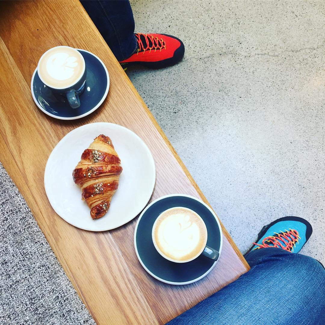 saturday cappuccino and orange blossom/za'atar croissant with @maxkiesler