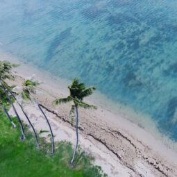 drone shot of kawaikui beach