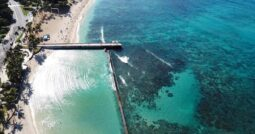"aerial view of ""walls"" - swimming beach to the reef"