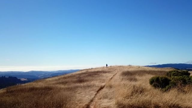 me on the trail at borel hill, san mateo's highest named point. aerial vid by @maxkiesler / post-production by me