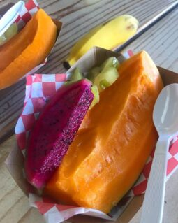 organic papaya, purple pitaya and apple banana fresh off the trees at Kahuku Farms - the best fruit and veggies I've ever had