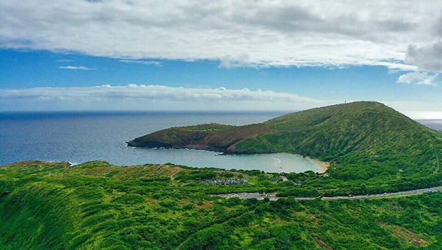 photo from the drone at 400 feet above – looking at Hanauma bay from Koko head