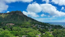 diamond head under perfect cumulus clouds